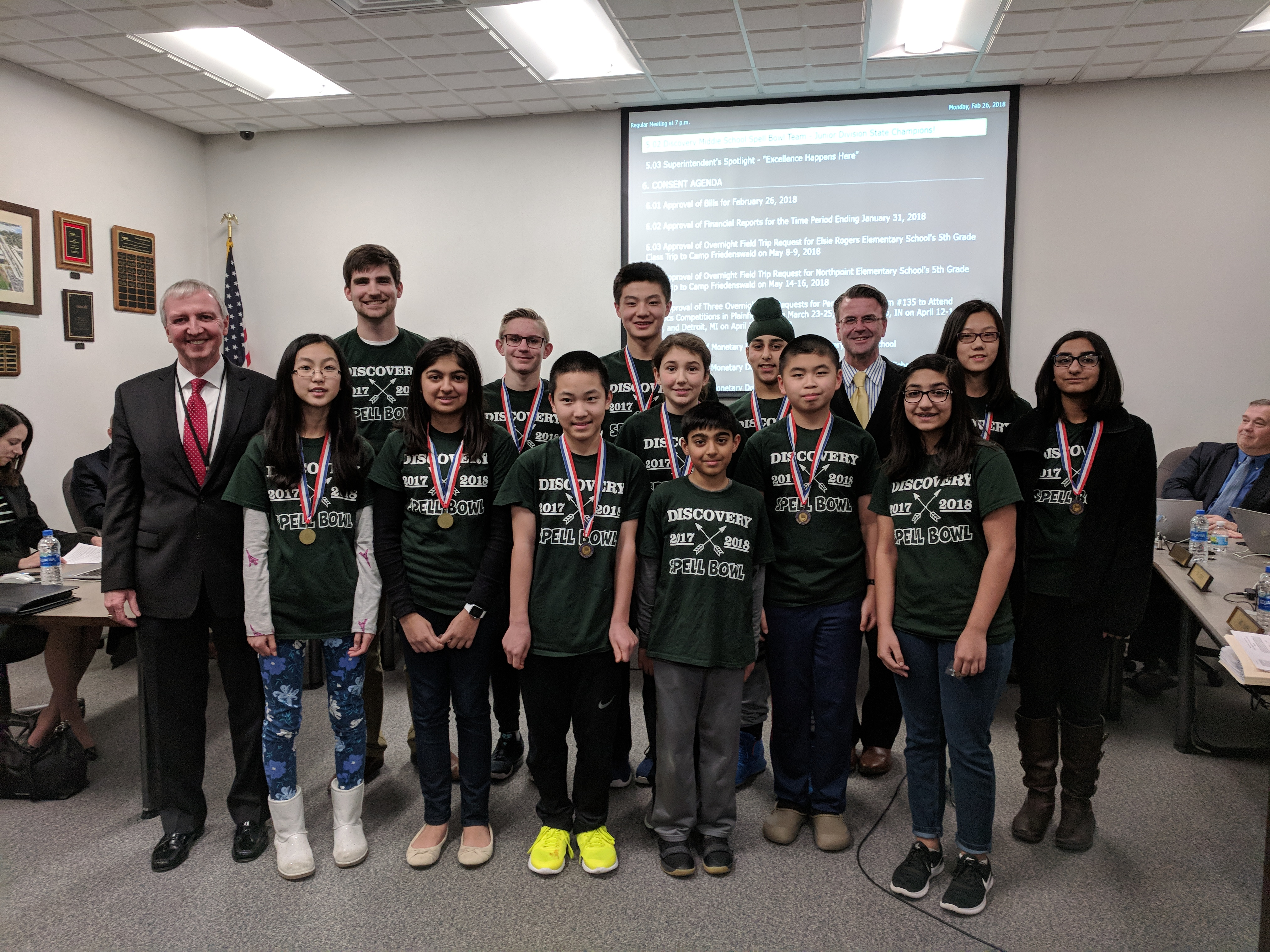 1st place Discovery Spell Bowl Team recognized at the Feb. 26 Board Meeting