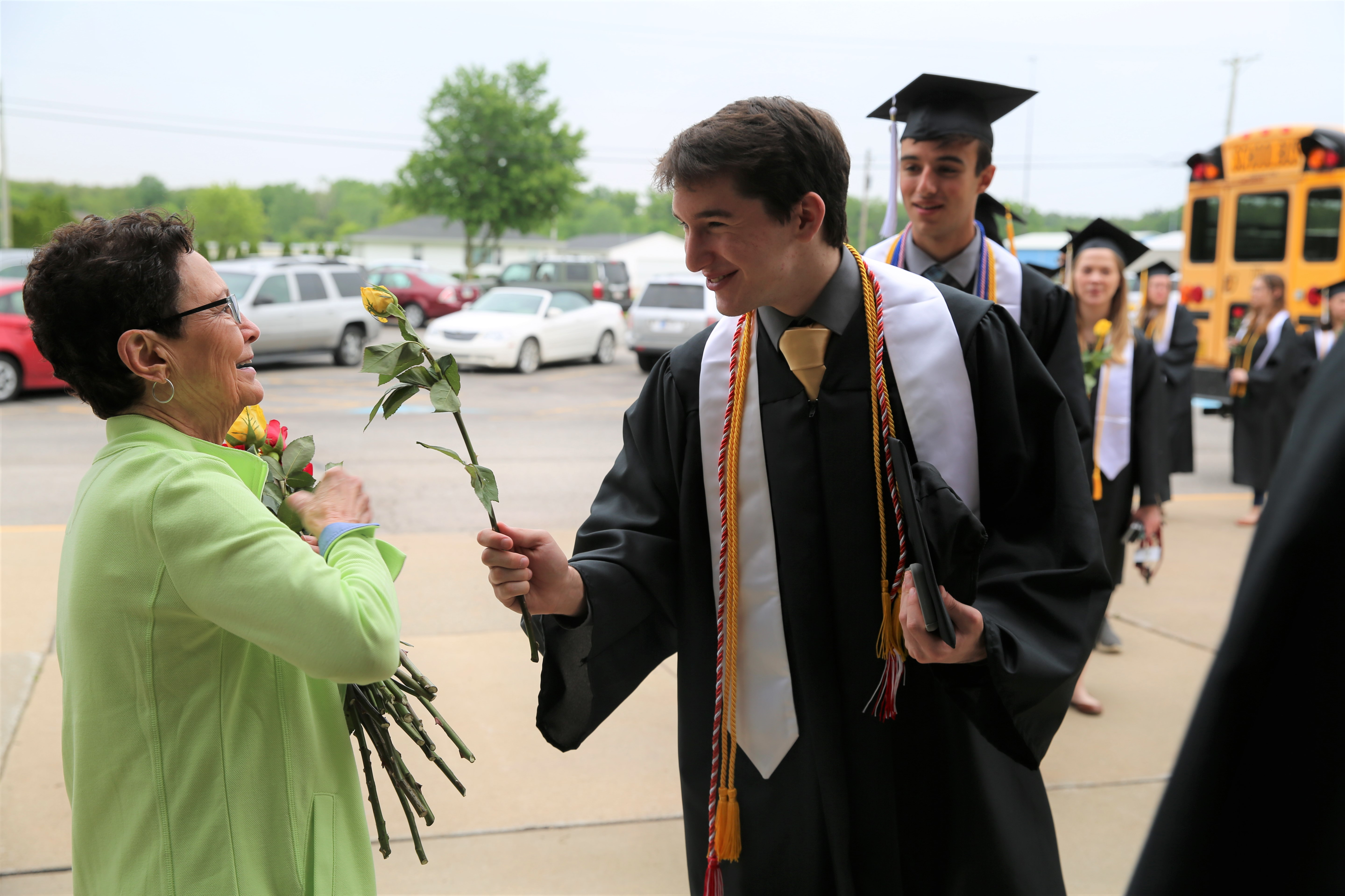 Graduating Penn students surprise retiring Discovery principal, Mrs. Sheryll Harper