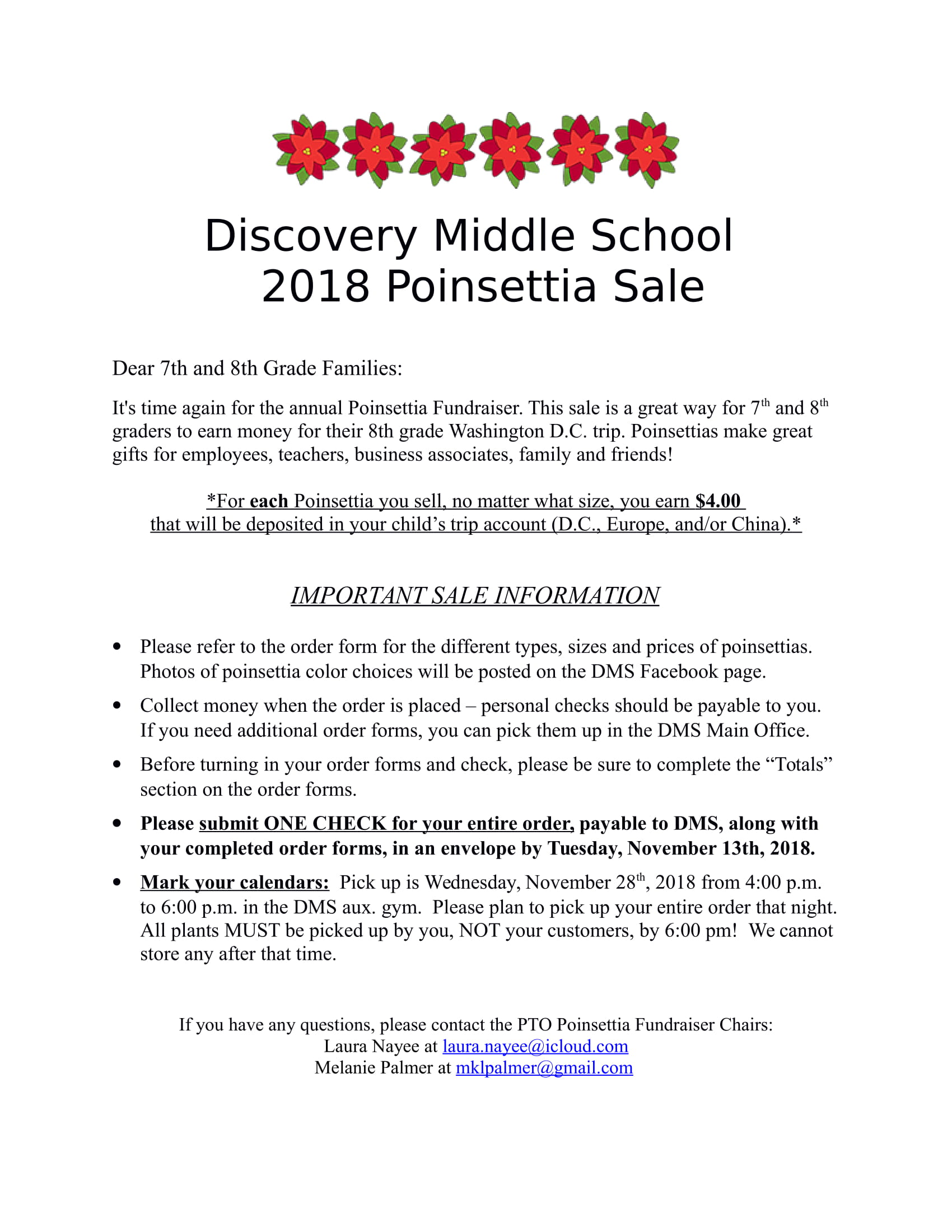 2018 Poinsettia Fundraiser Discovery Middle School