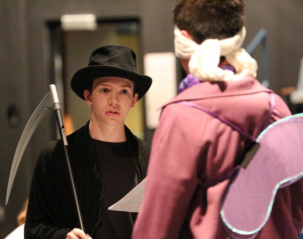 "Penn Drama Club students rehearse for the ""Boo Bash""."